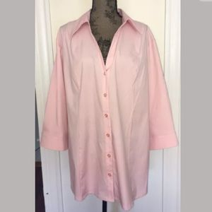 Apostrophe 24W pink button up blouse top